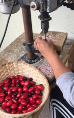 Tagua nut handmade red vegetable dye