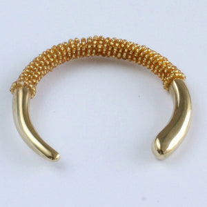 African handmade brass bracelet with gold beads