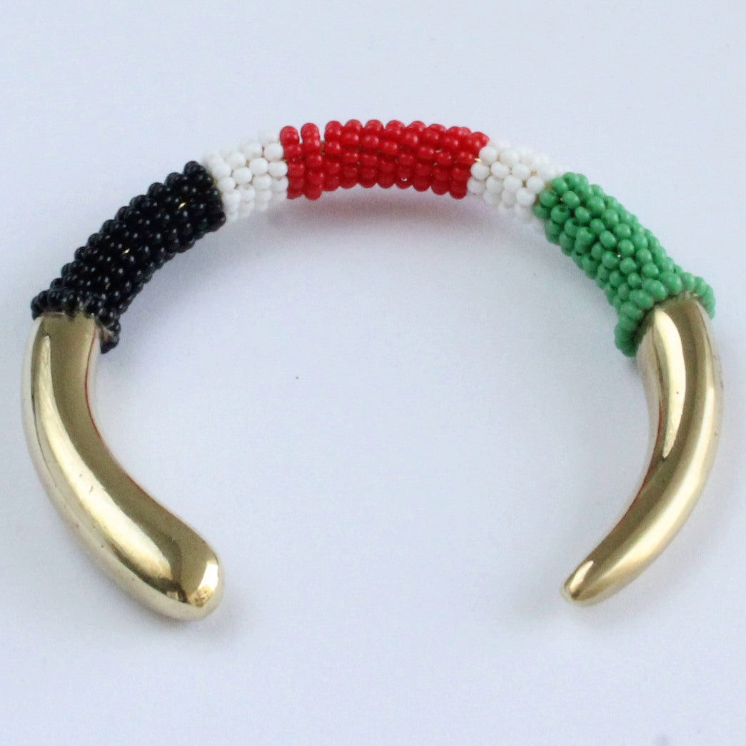 African handmade brass bracelet with black white red green beads