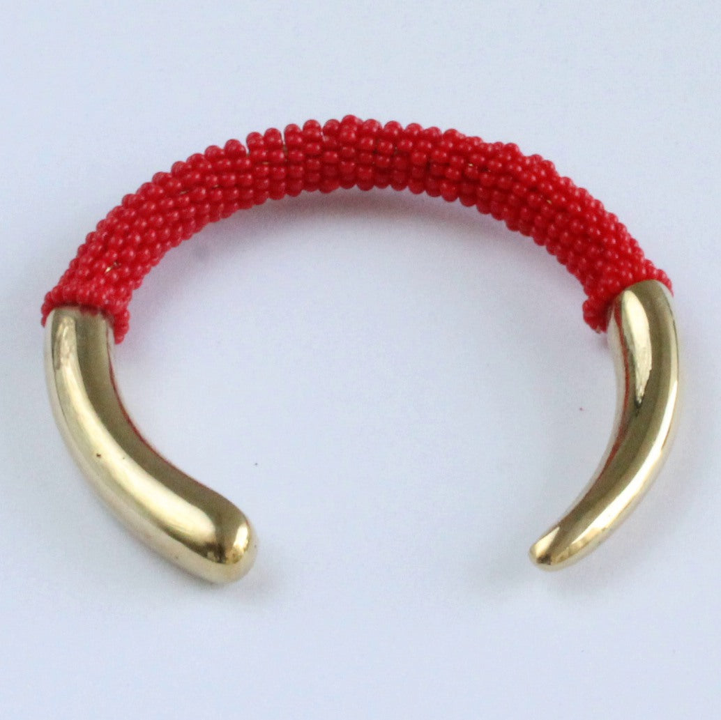 African handmade brass bracelet with red beads