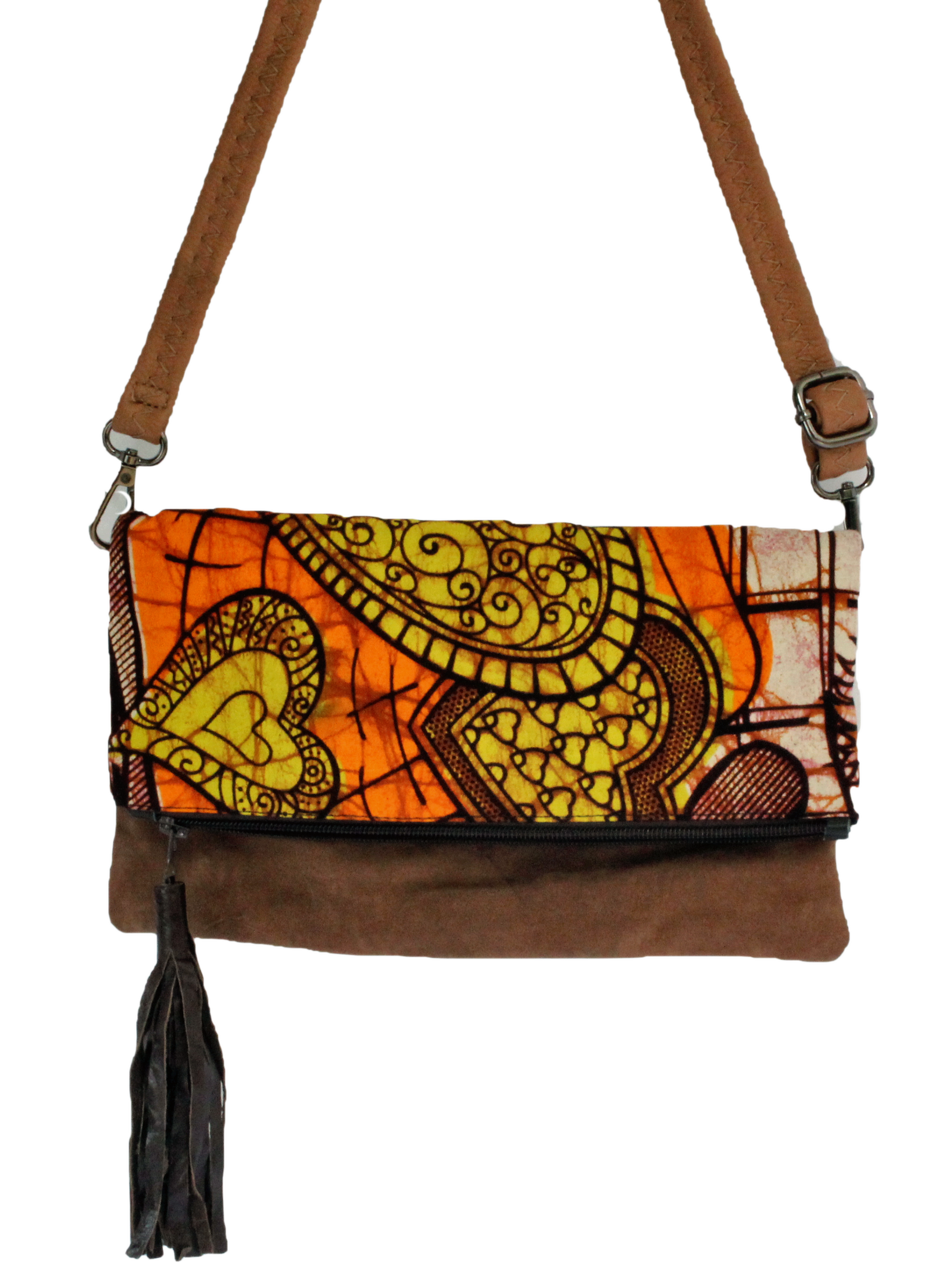 Handmade crossbody bag, upcycled leather, African print, Kitenge fashion, Ankara fashion, brown suede