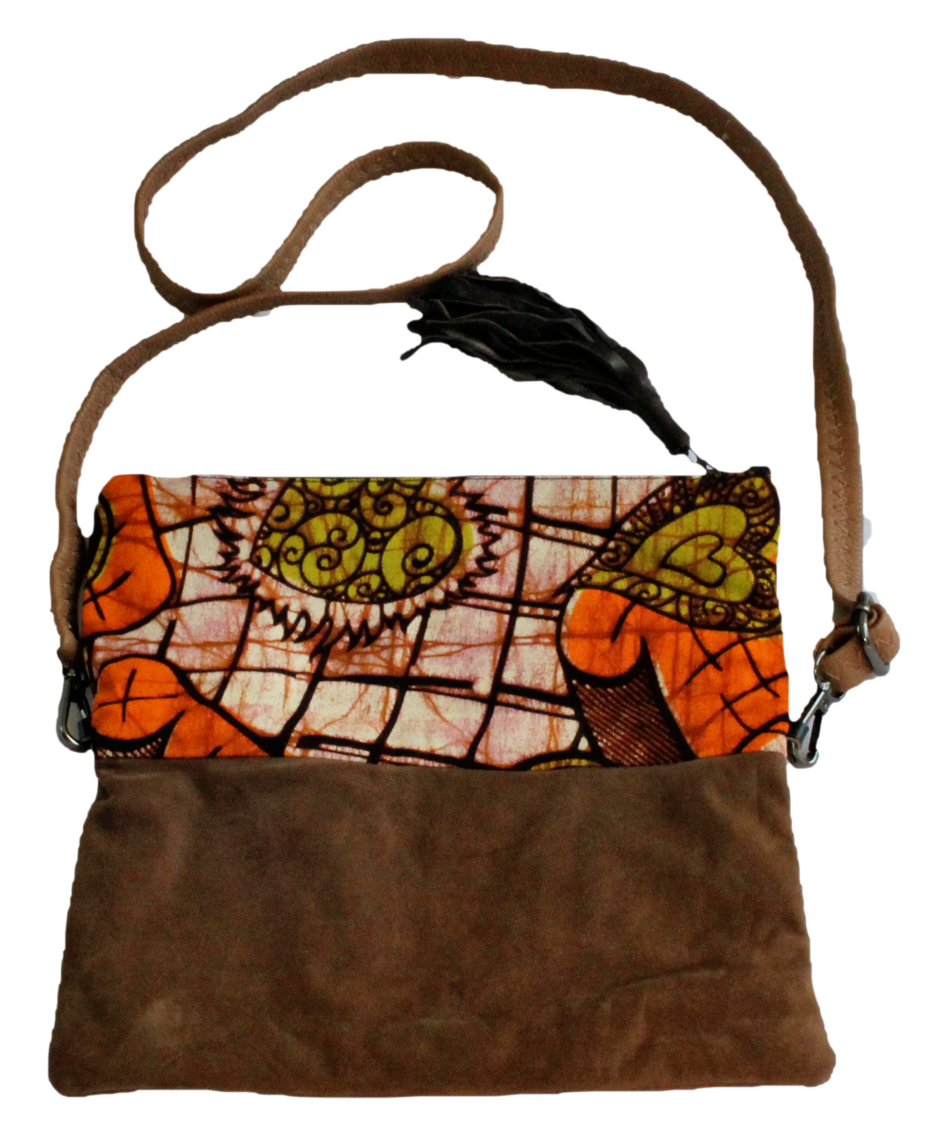 Handmade crossbody bag, upcycled leather, African print, Kitenge fashion, Ankara fashion, brown suede, with strap
