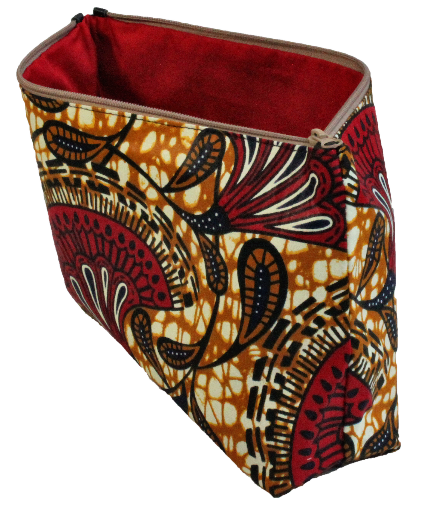 African handmade make up bag side