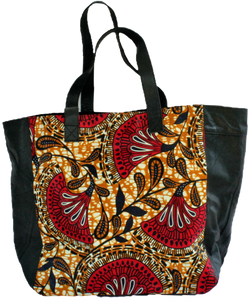 Handmade tote bag, upcycled leather, African print, Kitenge fashion, Ankara fashion, red, black