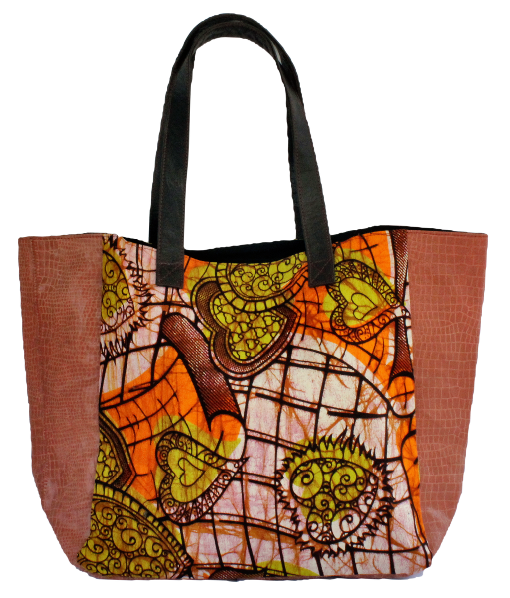 Handmade tote bag, upcycled leather, African print, Kitenge fashion, Ankara fashion, rose gold
