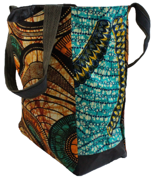 Handmade tote bag, upcycled, African print, Kitenge fashion, Ankara fashion, shopping bag, side