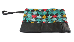 Handmade wristlet with coin purse, recycled, upcycled leather, African print, Kitenge fashion, Ankara fashion, wallet, travel wallet, left