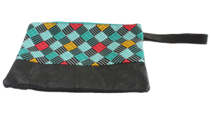 Handmade wristlet with coin purse, recycled, upcycled leather, African print, Kitenge fashion, Ankara fashion, wallet, travel wallet, right