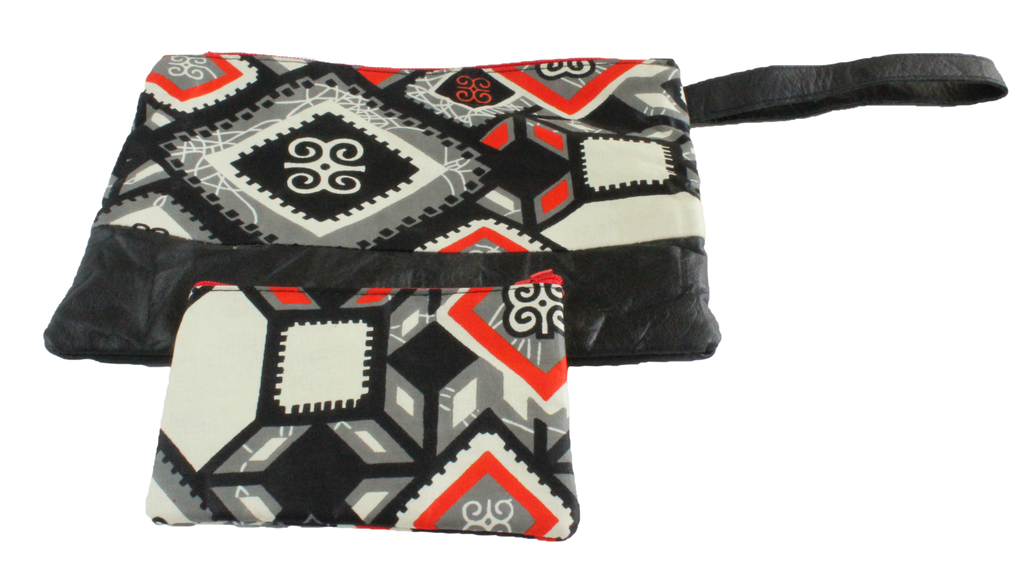 Handmade wristlet with coin purse, recycled, upcycled leather, African print, Kitenge fashion, Ankara fashion, wallet, travel wallet