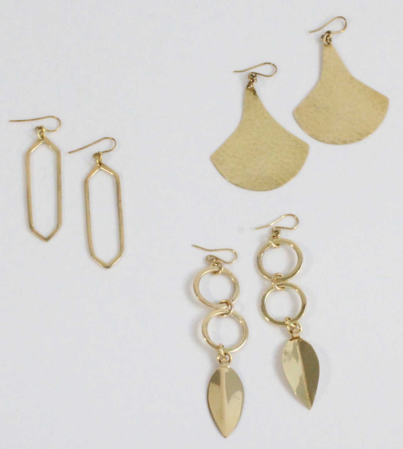 3 pairs of African handmade brass earrings