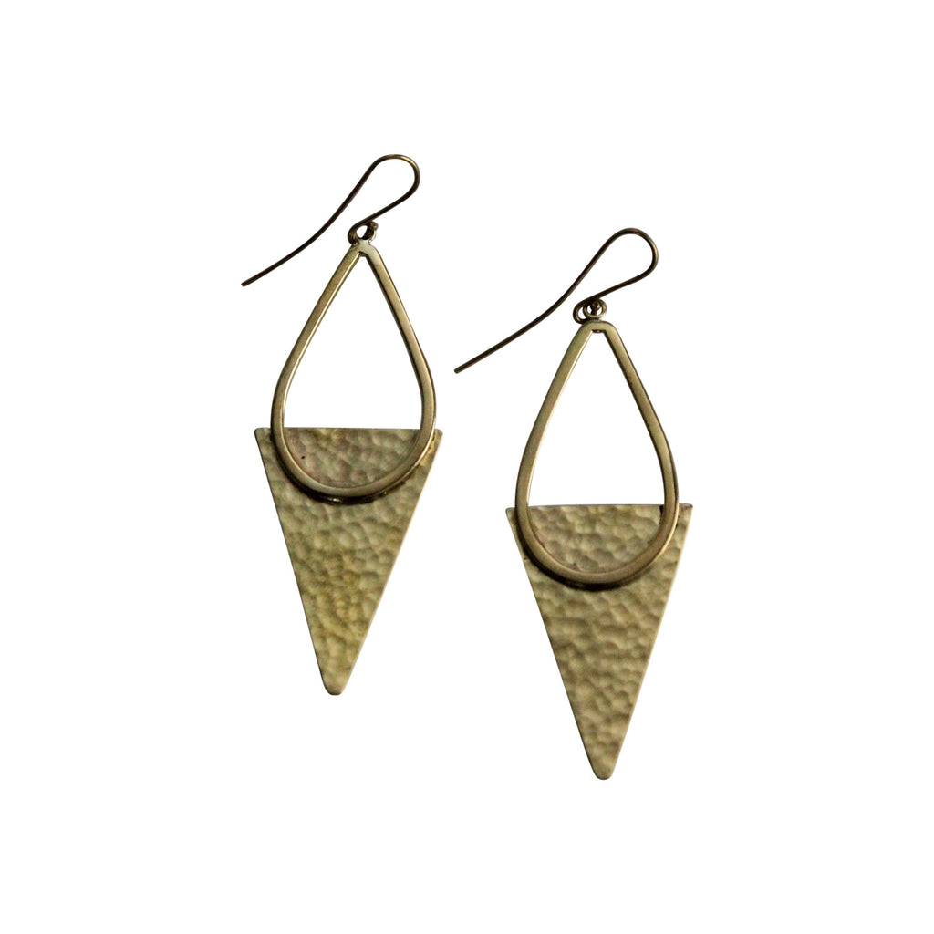 brass earrings, triangle, recycled, handmade