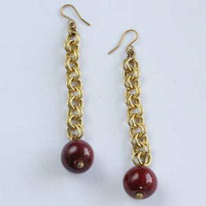 Handmade brass earrings, clay bead, burgundy, double loop chain