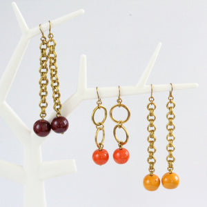 African handmade brass earrings with colourful clay ball