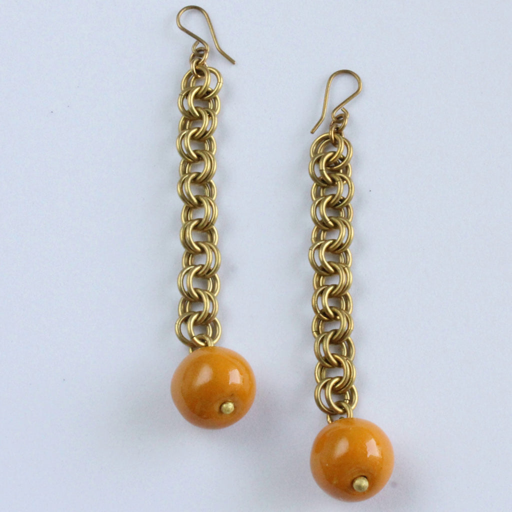 Handmade brass earrings, clay ball, beads, double loop chain