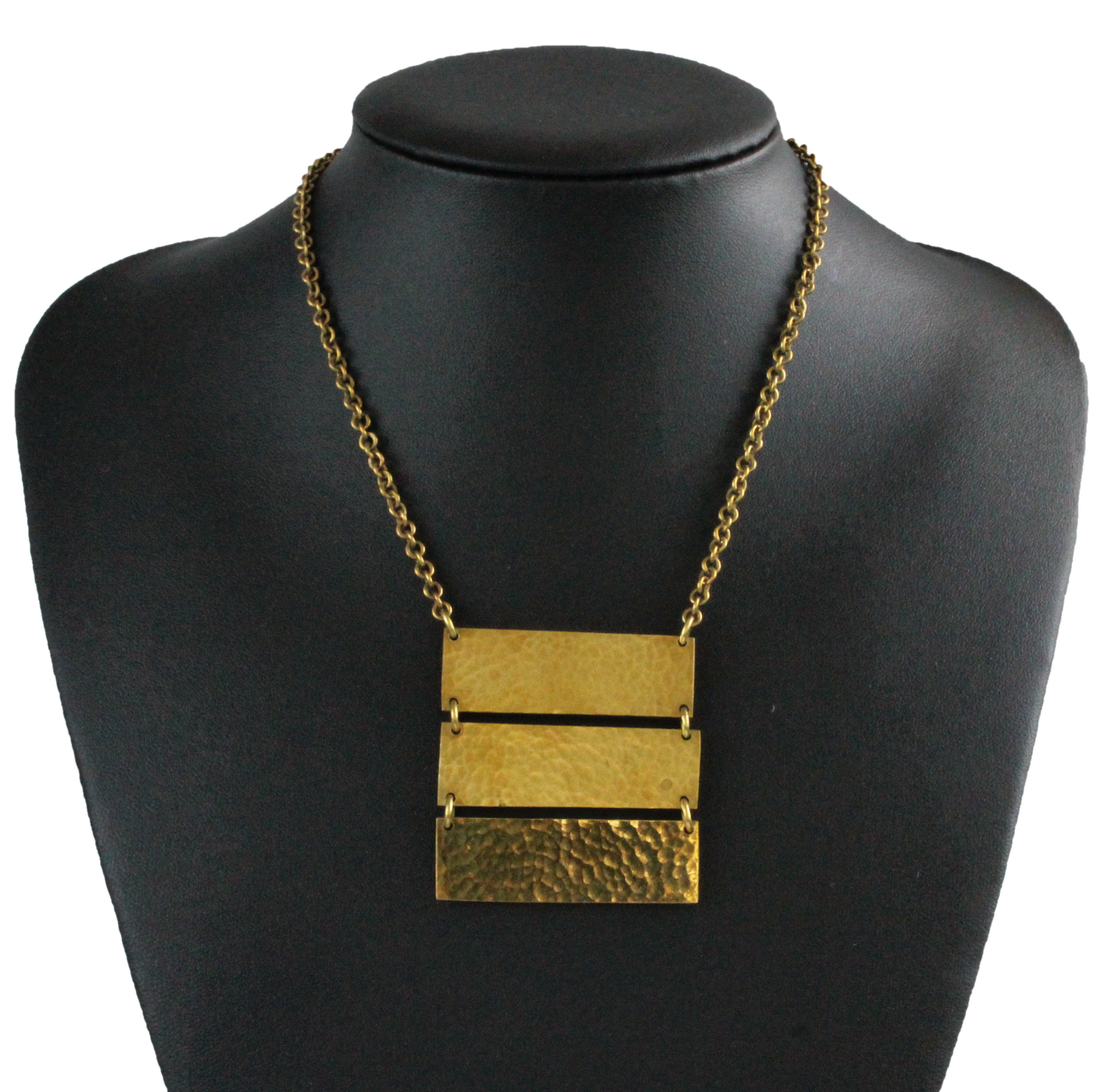 African handmade brass necklace, 3 bars, black display