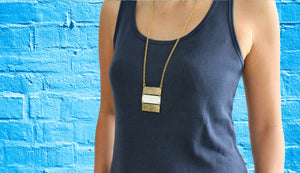 African brass necklace Triple bar with white bone body blue brick