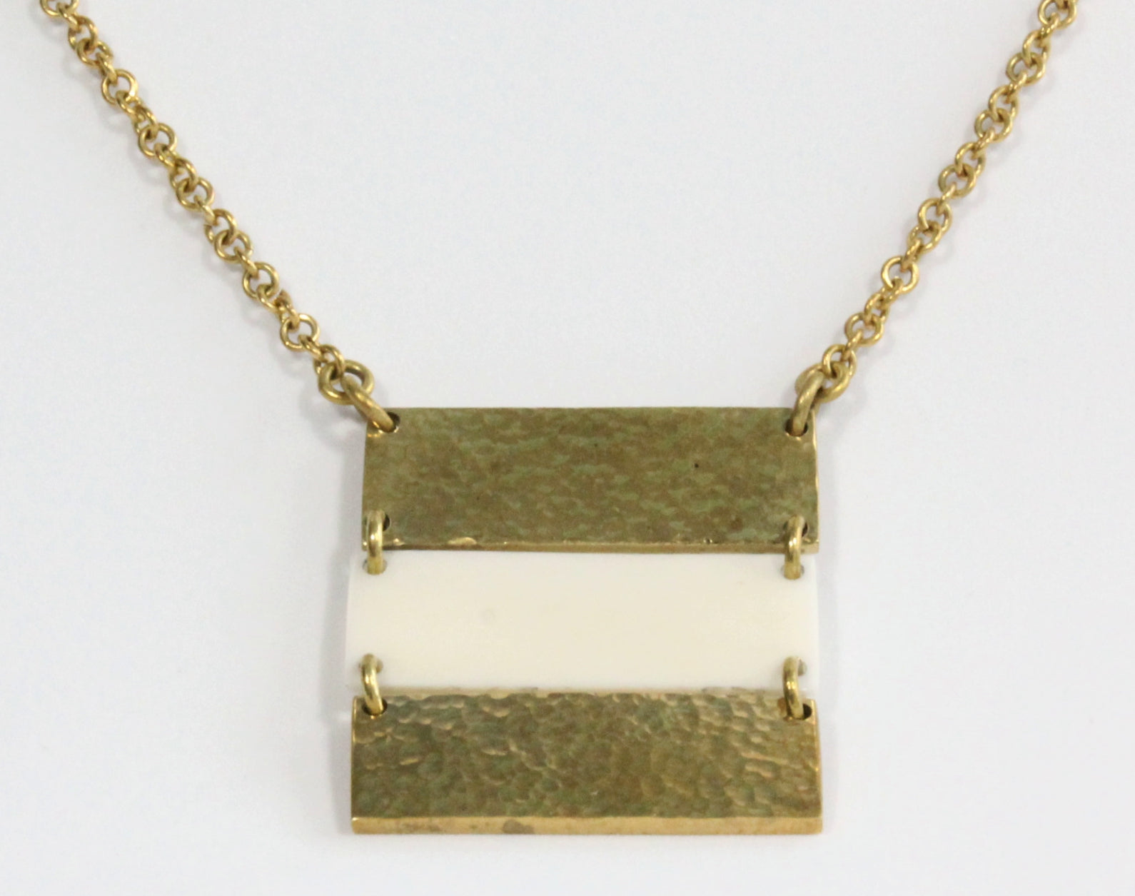 African brass necklace Triple bar with white bone
