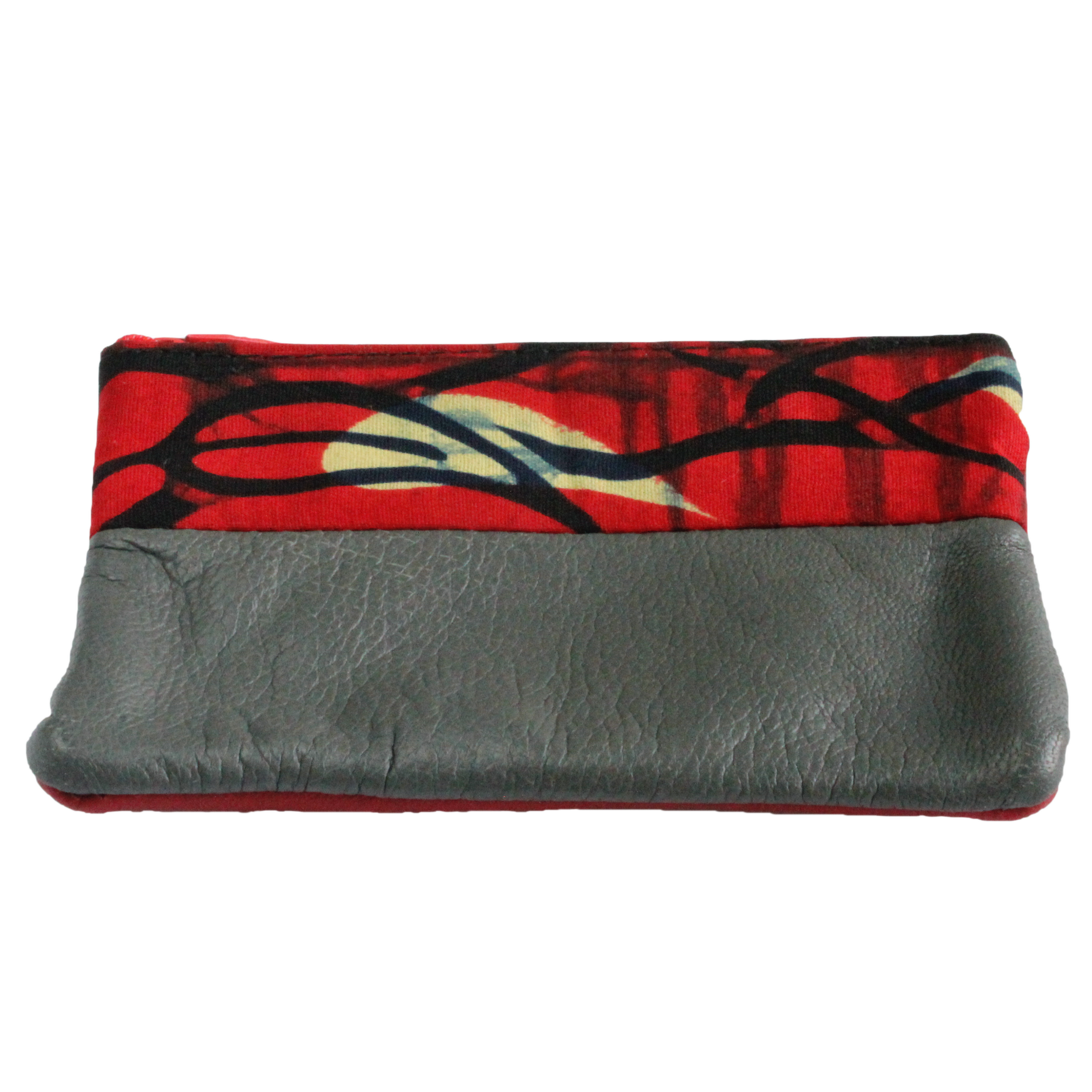 Handmade African coin purse, upcycled leather, African print, Kitenge fashion, Ankara fashion, red, grey, front