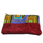 Handmade African coin purse, upcycled leather, African print, Kitenge fashion, Ankara fashion, red velvet front
