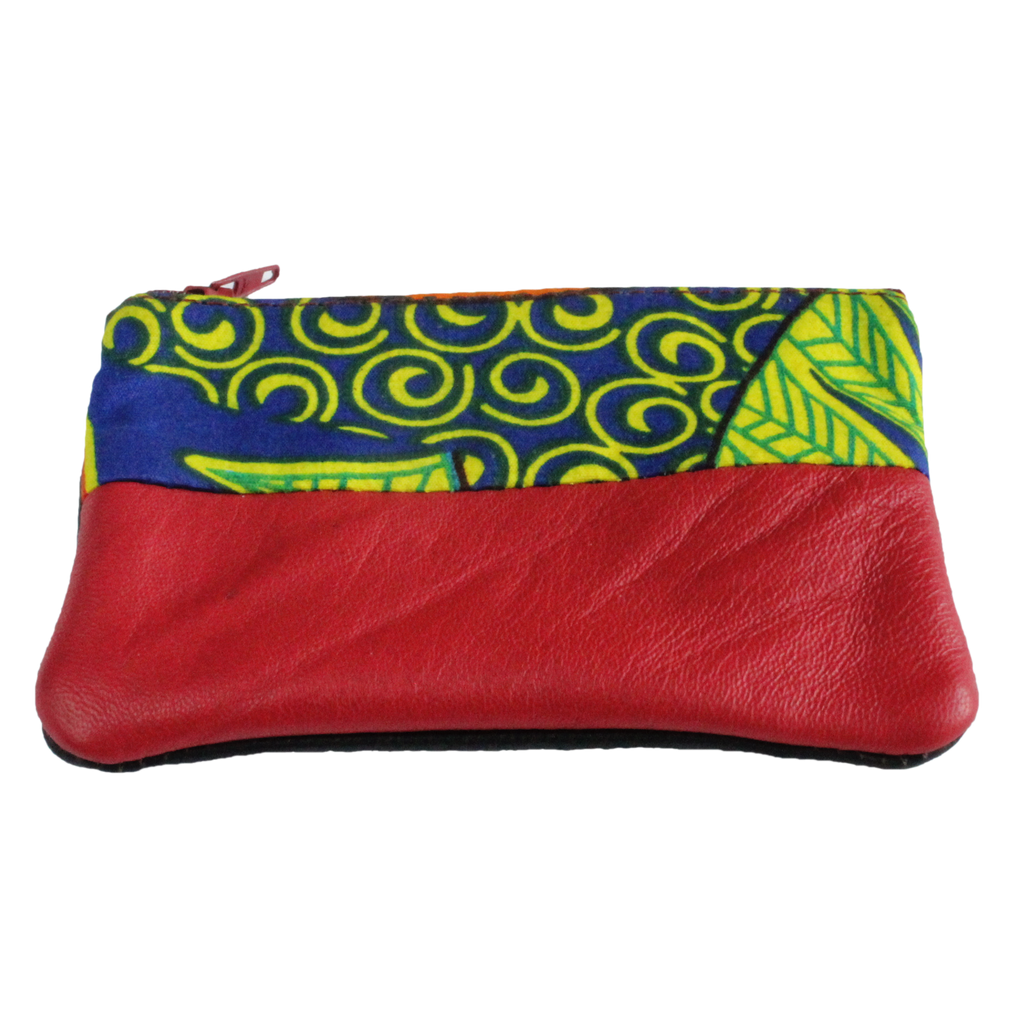 Handmade African coin purse, upcycled leather, African print, Kitenge fashion, Ankara fashion, red front