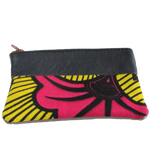 Handmade African coin purse, upcycled leather, African print, Kitenge fashion, Ankara fashion, pink flower, front