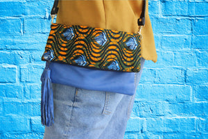 Handmade crossbody bag, upcycled leather, African print, Kitenge fashion, Ankara fashion, blue shoulder bag