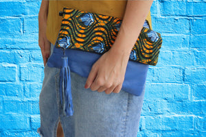 Handmade crossbody bag, upcycled leather, African print, Kitenge fashion, Ankara fashion, blue, clutch