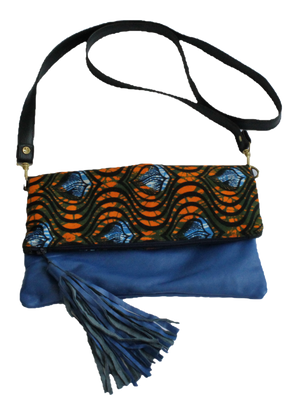 Handmade crossbody bag, upcycled leather, African print, Kitenge fashion, Ankara fashion, blue, with strap