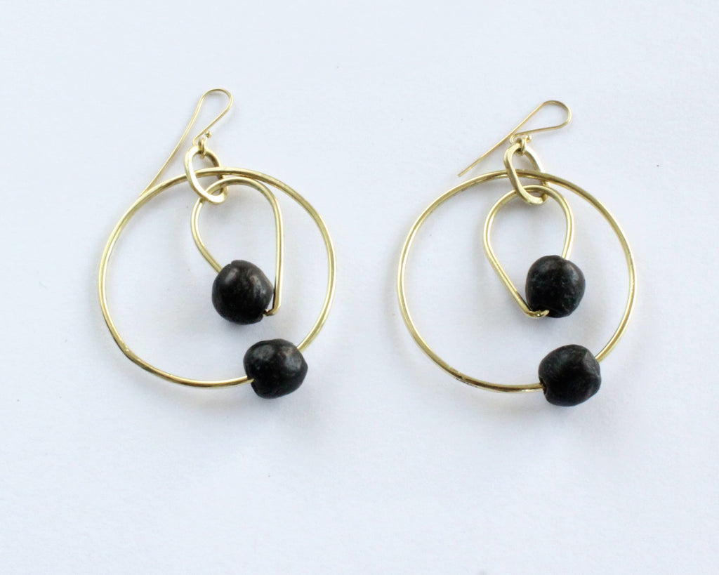Handmade earrings, brass, black stone, two hoops, African, recycled, upcycled