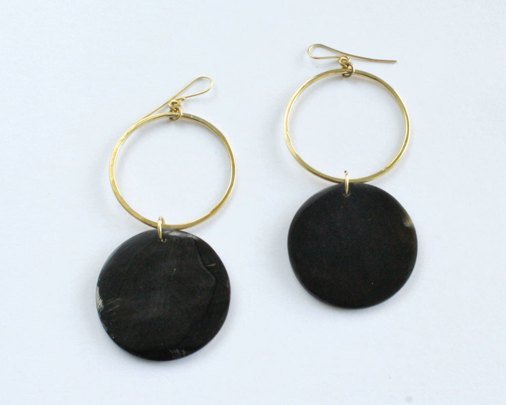 Handmade earrings, brass, black, cowhorn, recycled, upcycled, African