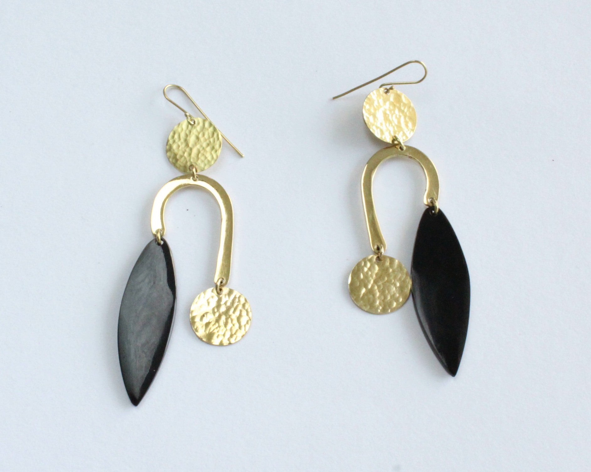 Handmade earrings, black bone, brass, recycled, upcycled, African