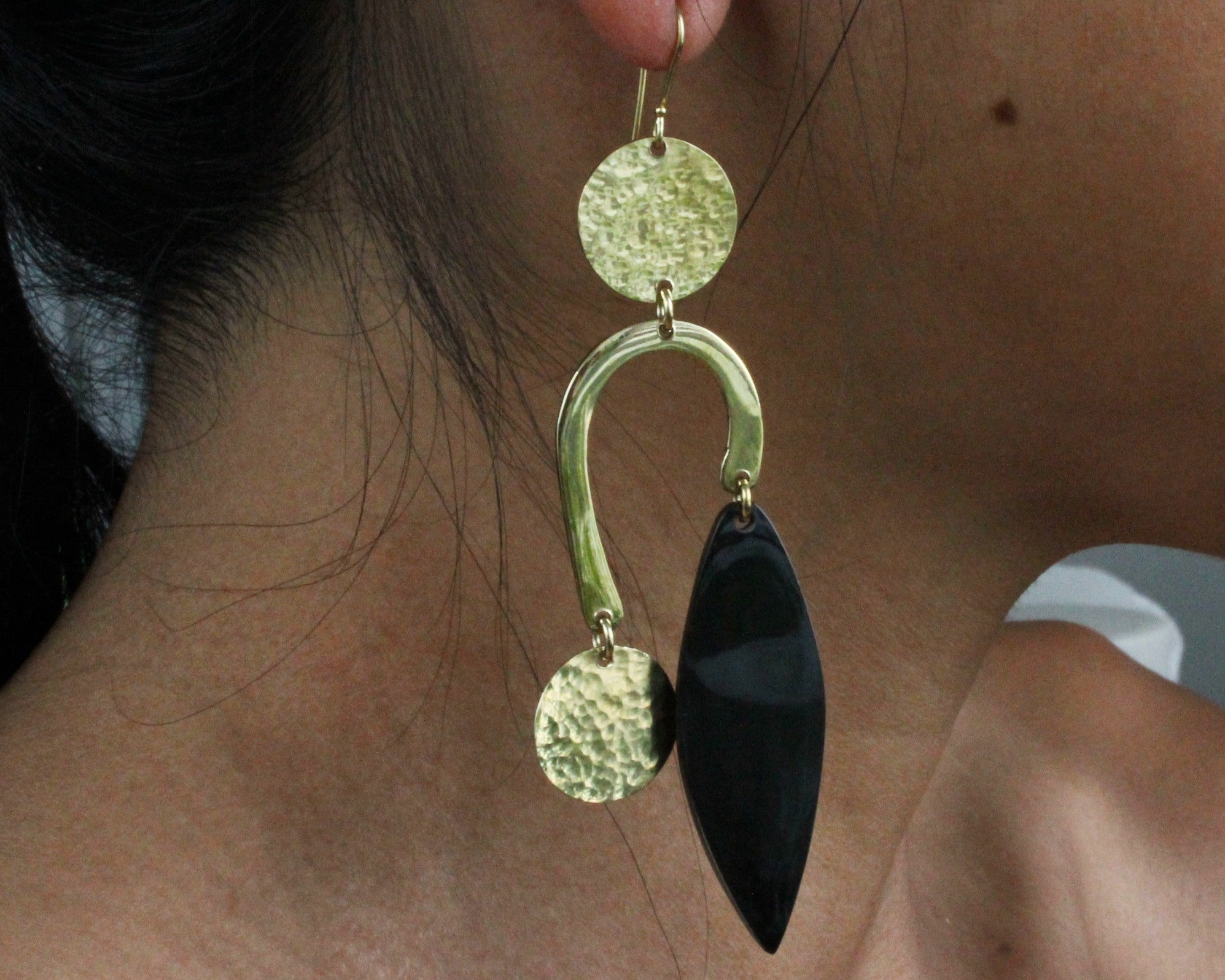 Handmade earrings, brass, hanging from ear, recycled, upcycled, black bone