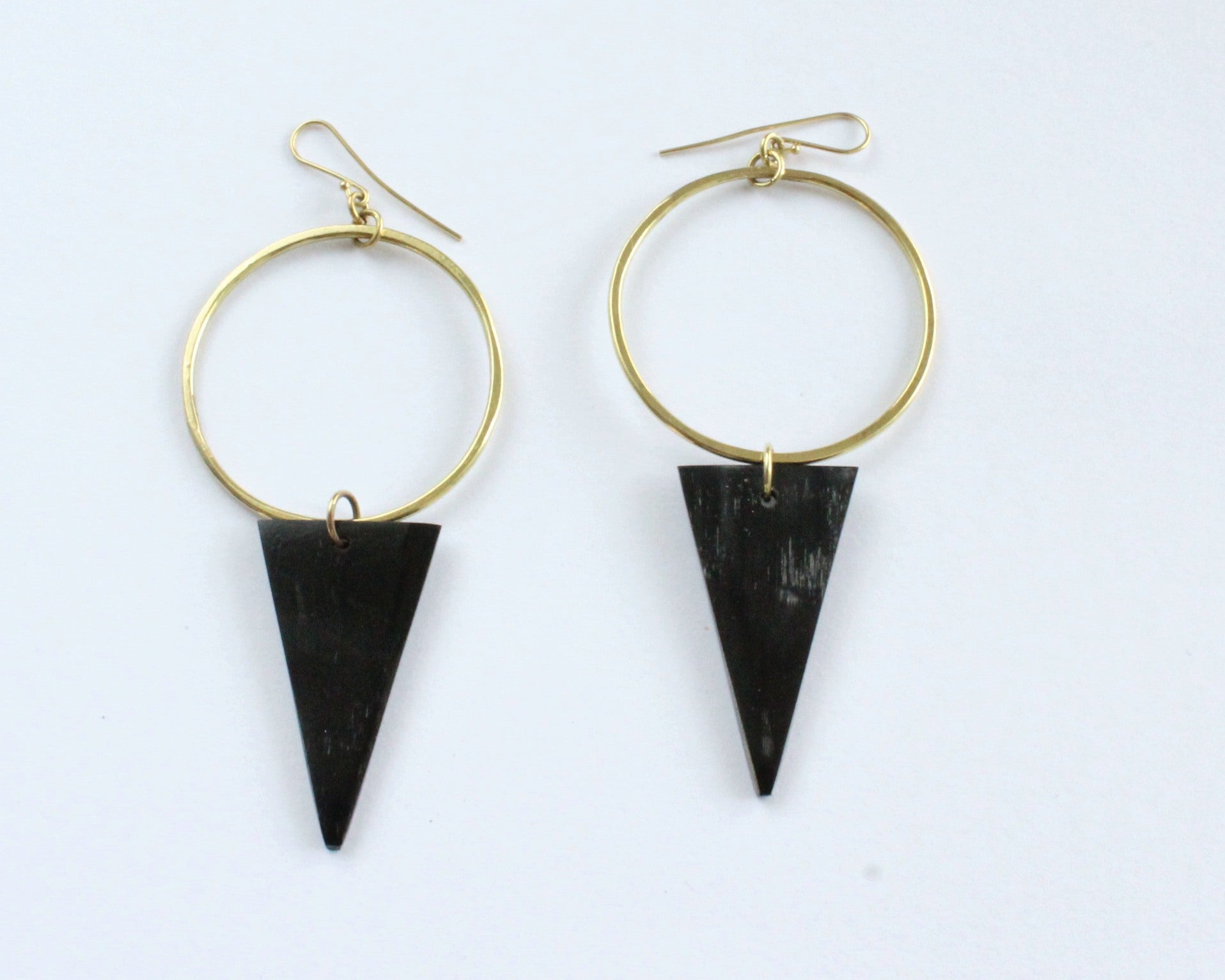 Handmade earrings, brass, black, horn, recycled, upcycled, African, triangle and hoop