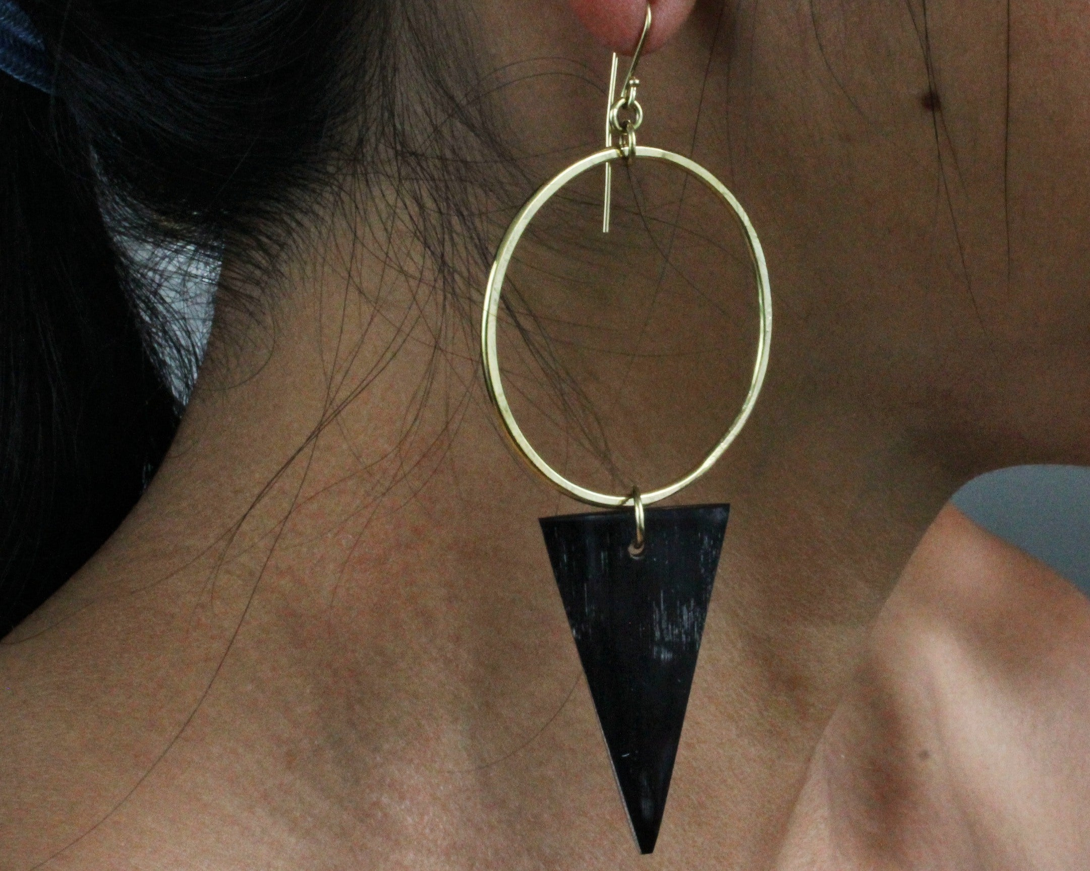 Handmade earrings, African, brass and bone, triangle, black, recycled, upcycled