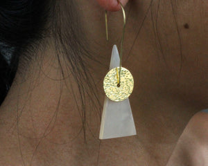 Handmade earrings, brass, white, cowhorn, recycled, upcycled, African