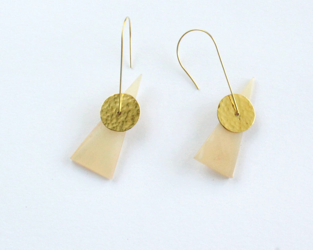 Handmade earrings, brass and recycled bone, white, upcycled, African, large fish hook