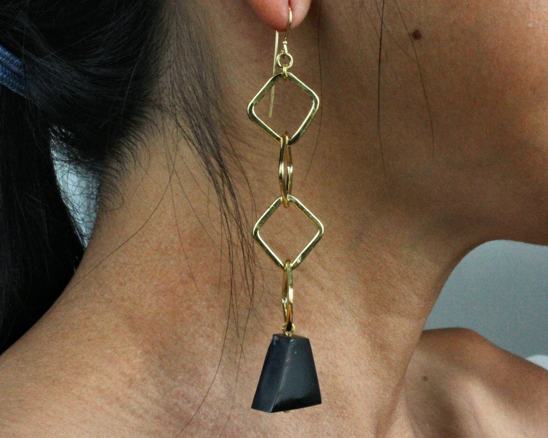 Handmade earrings, brass chain, black bell, cowhorn, recycled, upcycled, hanging from ear