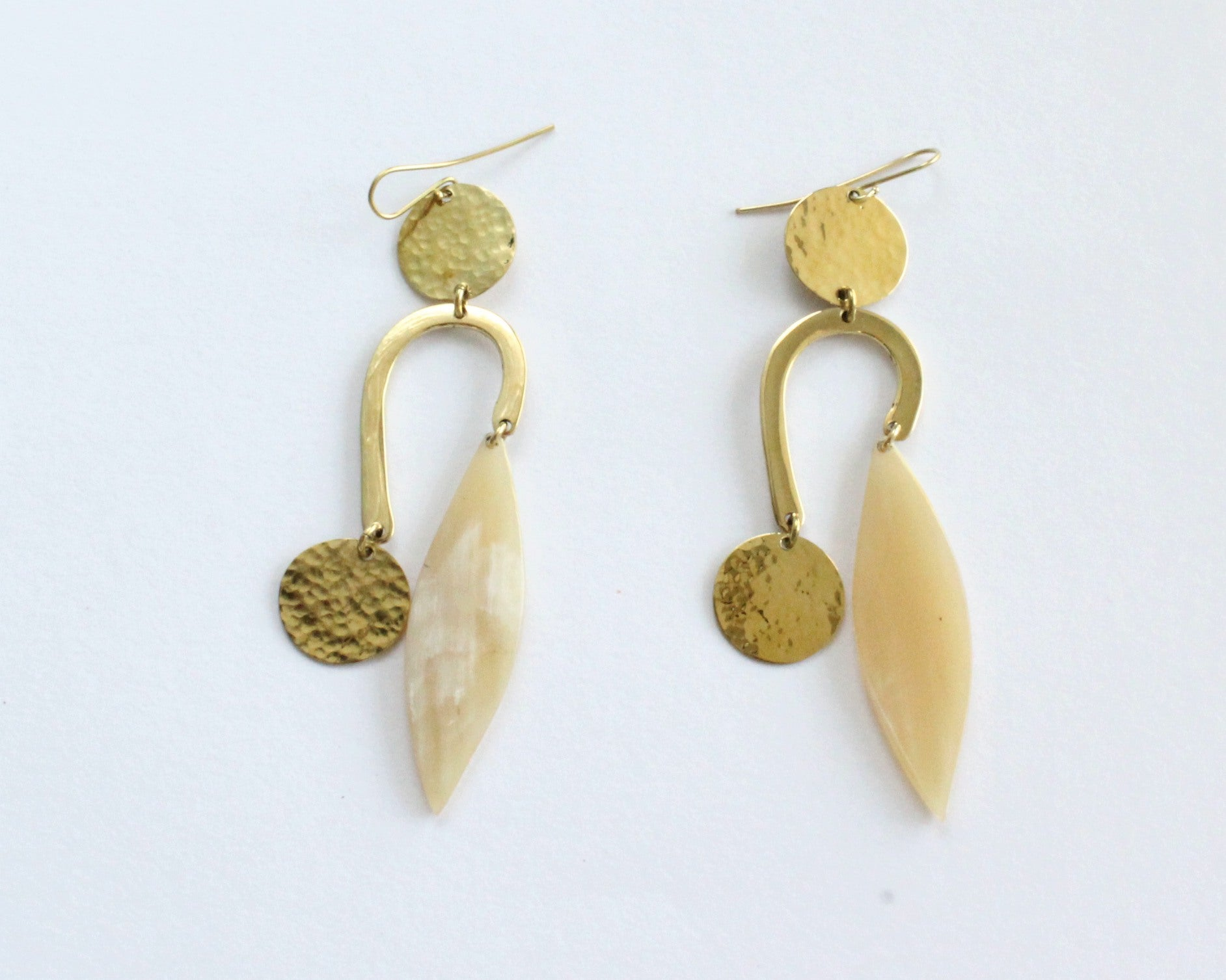 Handmade earrings, brass, recycled bone, white, upcycled, African