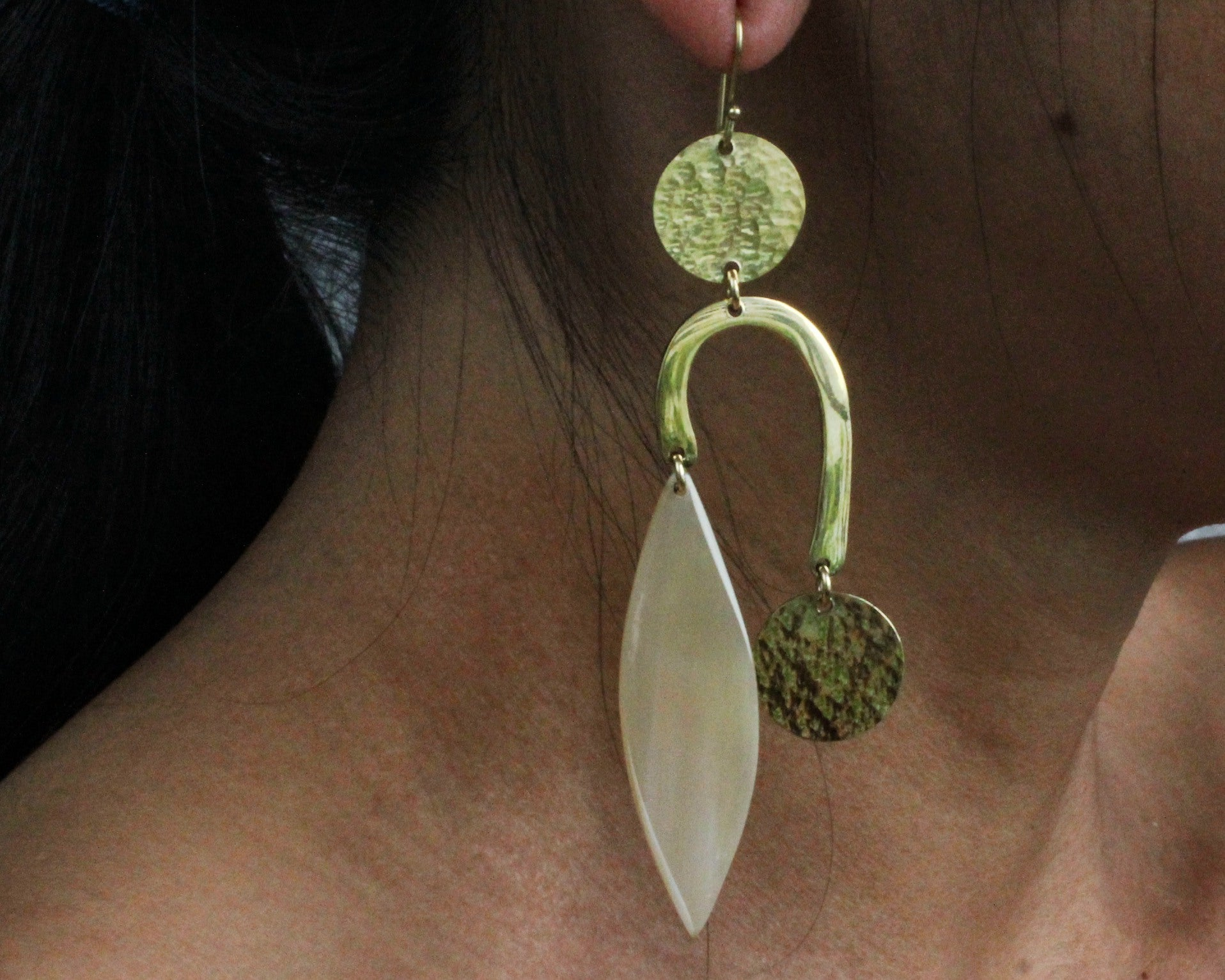Handmade earrings, white bone, recycled brass, upcycled, African