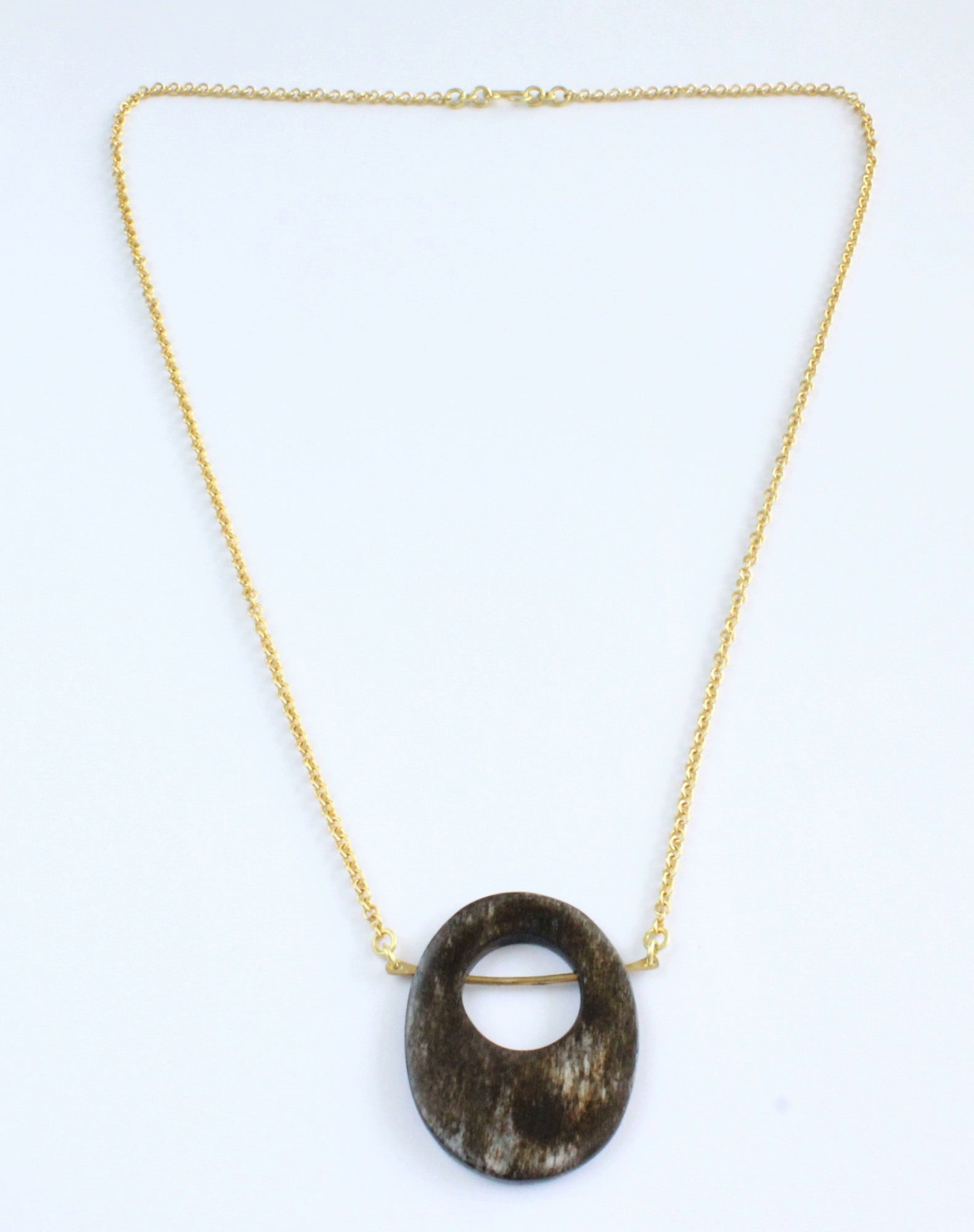 Handmade necklace, grey, brass, recycled, bone