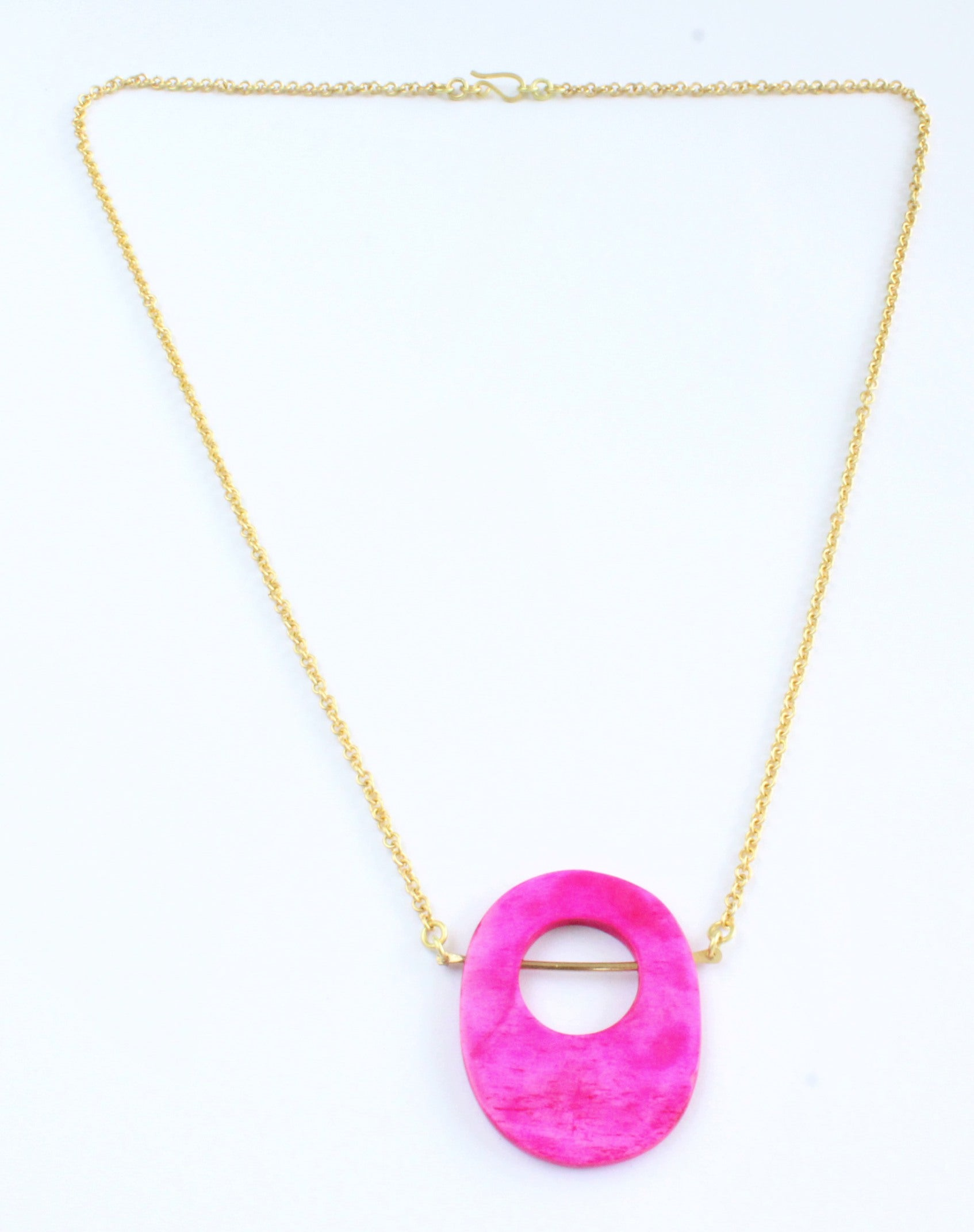Handmade necklace, pink, brass, recycled, bone