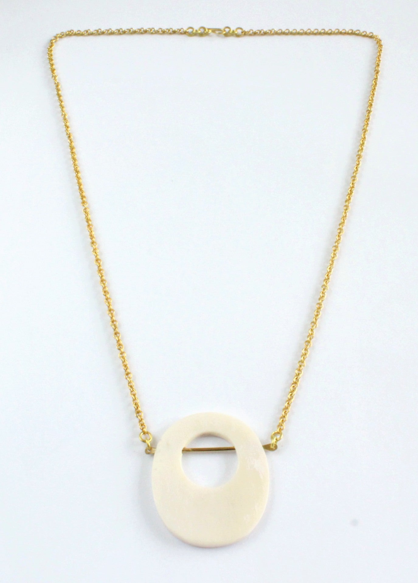Handmade necklace, white, brass, recycled, bone