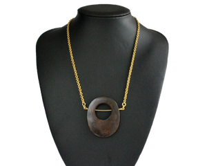Upcycled bone necklace, brown, brass, handmade