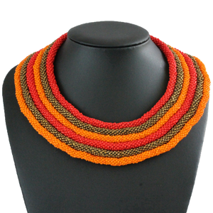 African handmade necklace, beads, multicoloured, black display