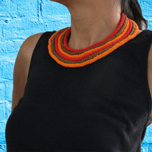 African handmade necklace, beads, multicoloured, neck
