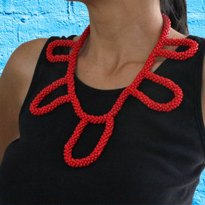 African handmade necklace, beads, red, neck