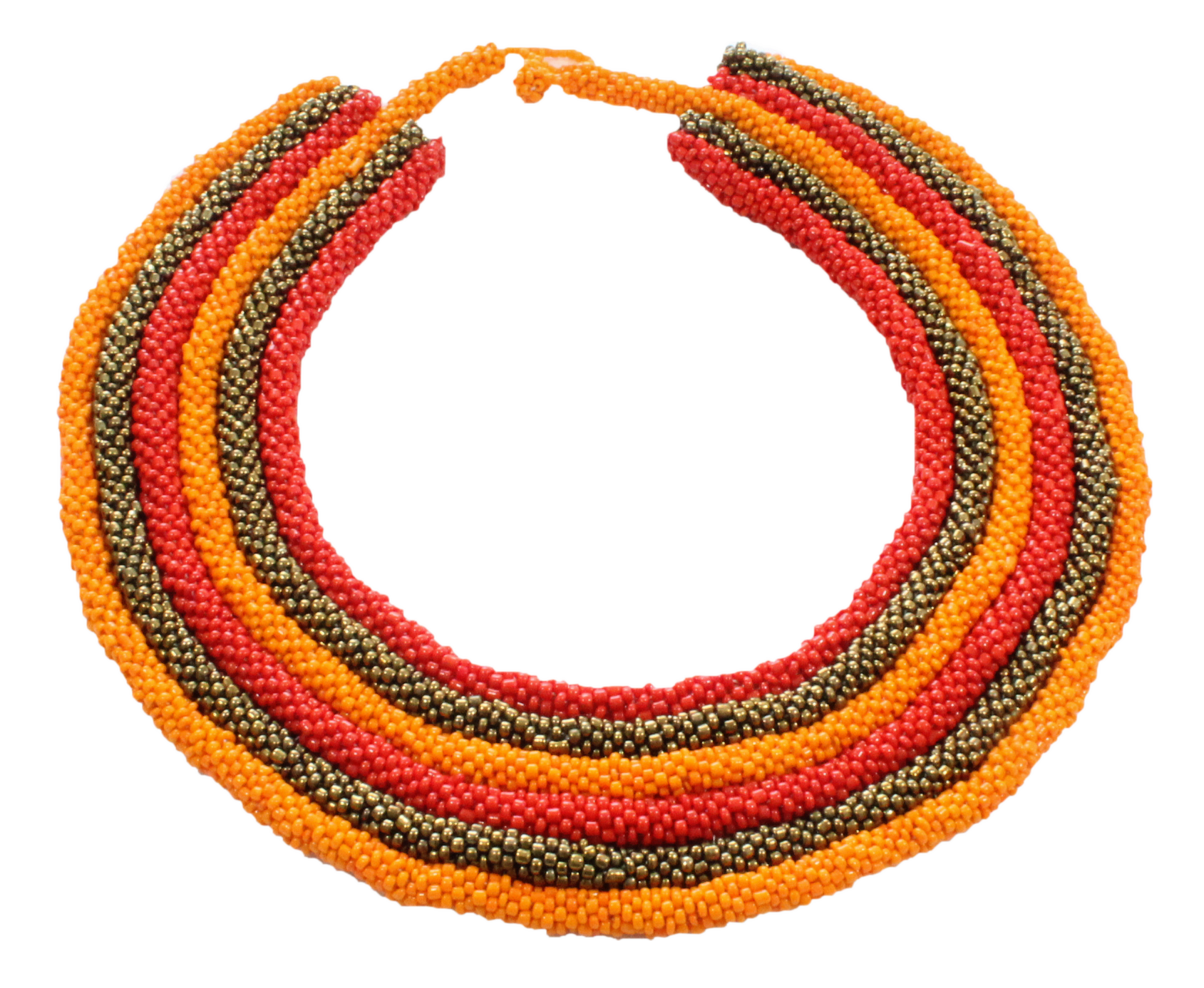 African handmade necklace multilayered beads gold orange red