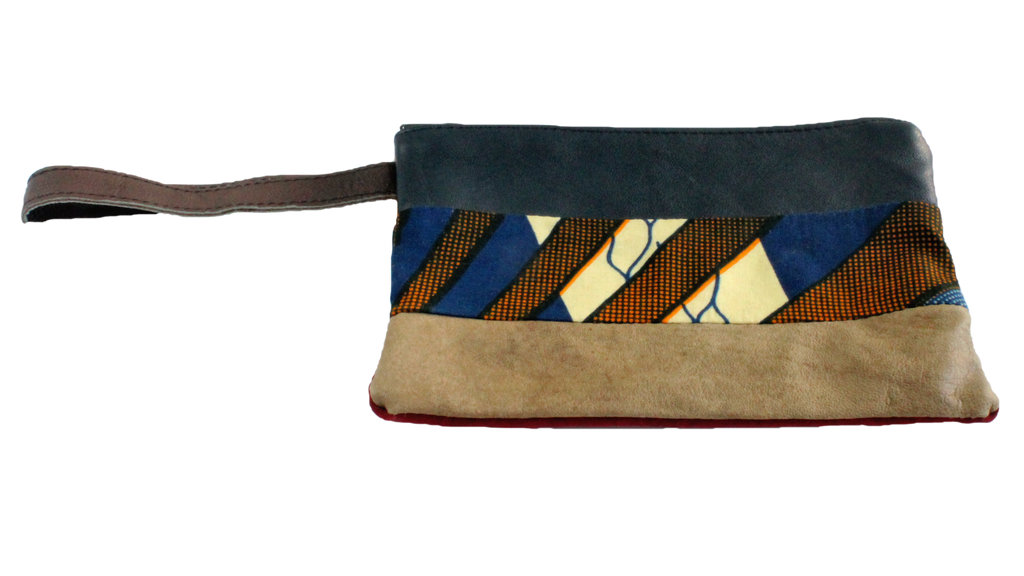 Handmade wristlet, recycled, upcycled leather, African print, Kitenge fashion, Ankara fashion, wallet, travel wallet