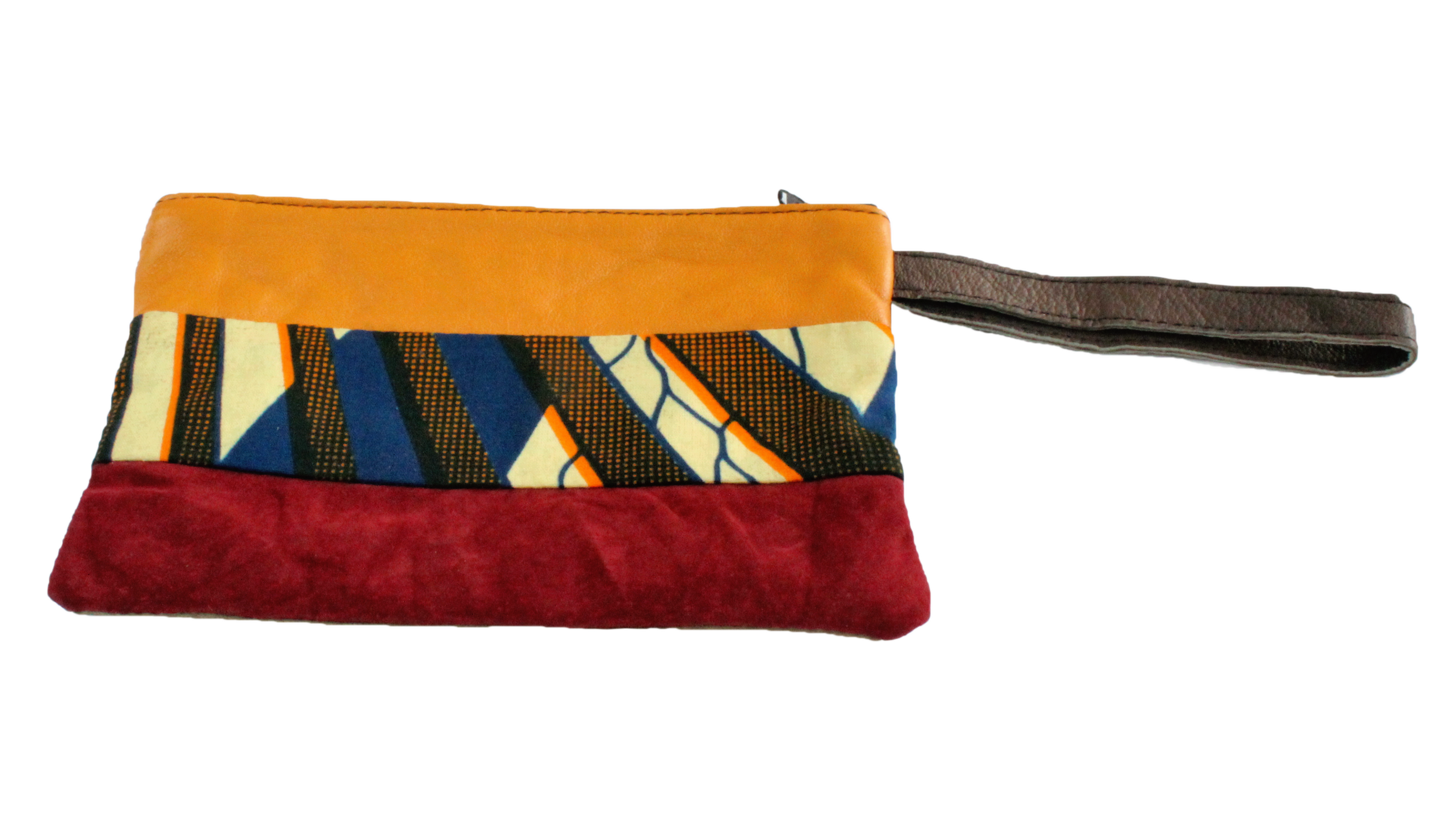 Handmade wristlet, recycled, upcycled leather, African print, Kitenge fashion, Ankara fashion, wallet, travel wallet, right
