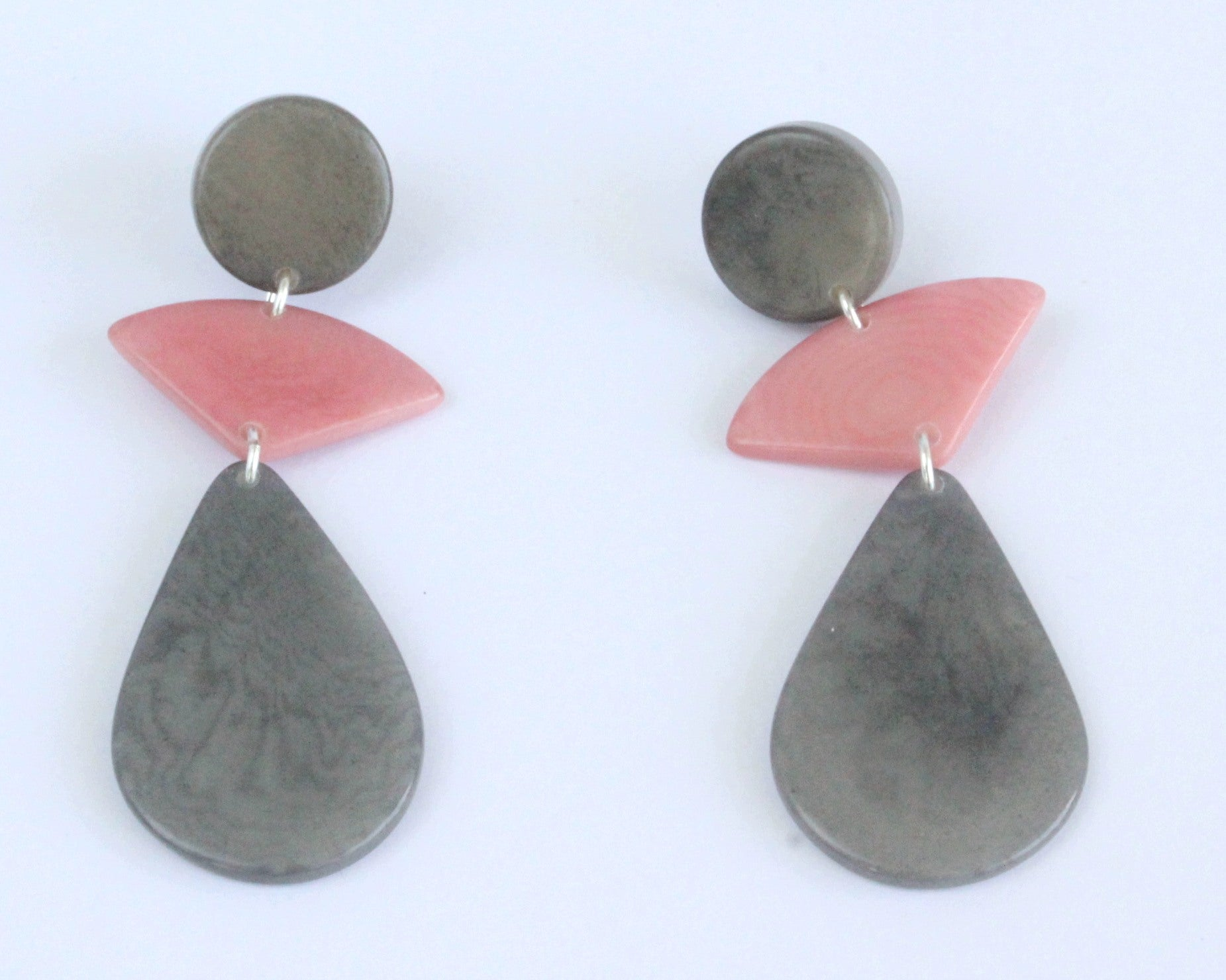 Handmade earring, push back, tagua, colourful, grey